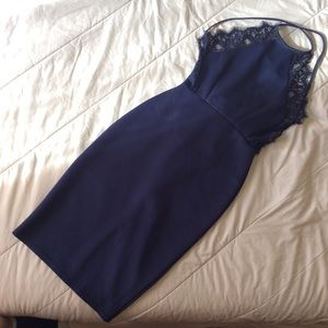 EUC Missguided Navy High Neck Lace Bodycon Dress